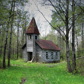 Old abandoned church built in 1907. Located at the end of a dirt road in Lincoln county, WI.
