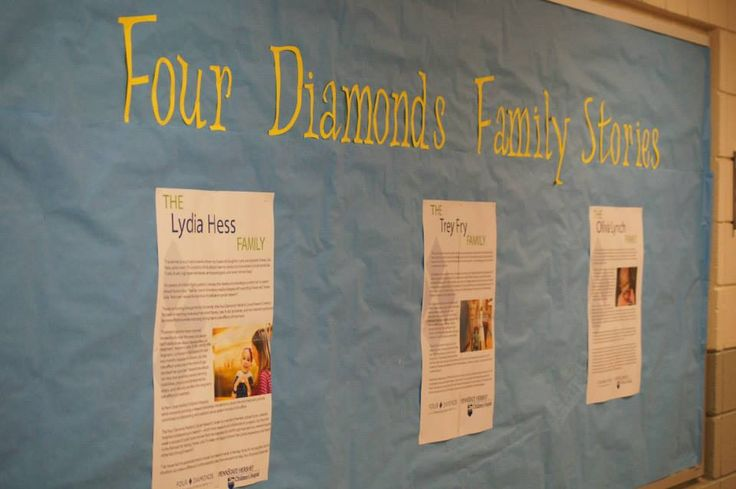 Way to keep the families at the forefront of the event! Pennridge High School hangs Four Diamonds family stories throughout the hallways so guests can read about the people they are helping!