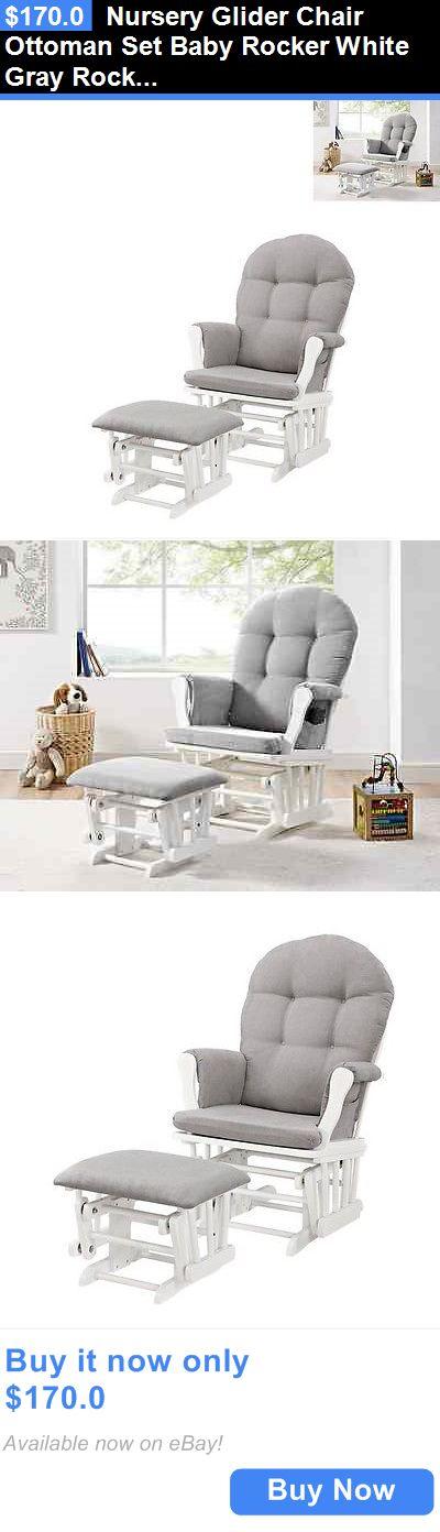 Baby Nursery: Nursery Glider Chair Ottoman Set Baby Rocker White Gray Rocking Furniture New BUY IT NOW ONLY: $170.0