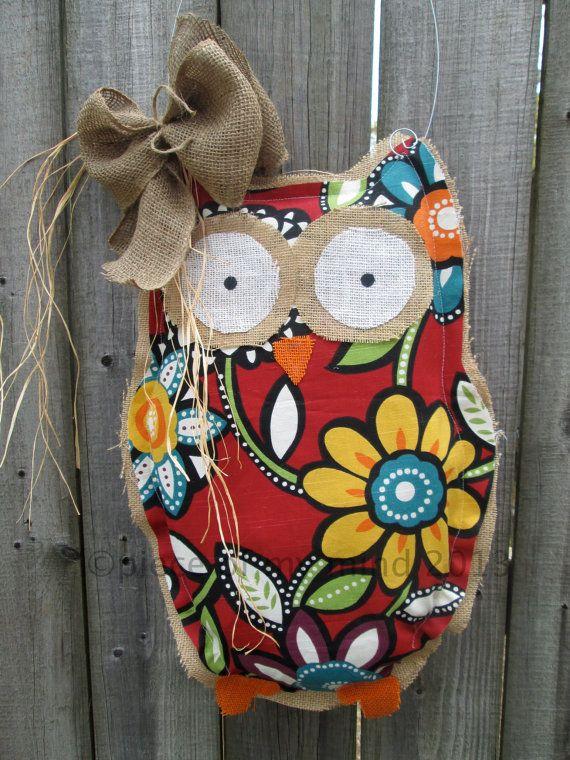 Owl+Burlap+Door+Hanger+Door+Decoration+Mixed+Media+by+nursejeanneg,+$28.00
