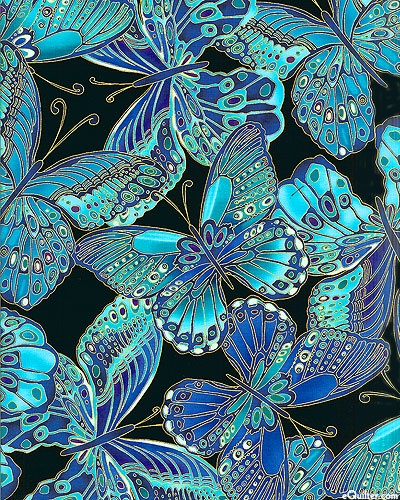 Shimmer - Jewel Box Butterflies - Black/Gold Metallic aqua teal turquoise blue