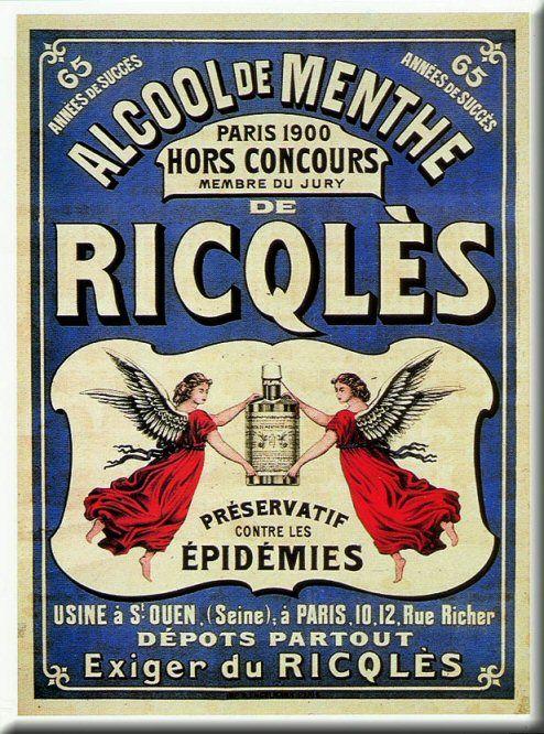 Pub retro alcool de MENTHE RICQLES