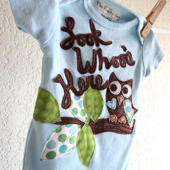 New baby outfit BOYS Owl  Look Whoo's Here by ThePeachyOwl on Etsy, $29.00