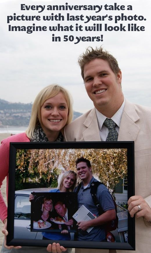 I love this idea. The draw back could be Mike seems to get better looking every year and I get worse it might not help our cause to celebrate. Get a picture together every year on your wedding anniversary - romantic and fun!