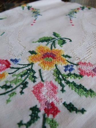 東欧ハンガリーの手刺繍花柄テーブルクロスアンティークリネン ¥5500円 〆03月04日
