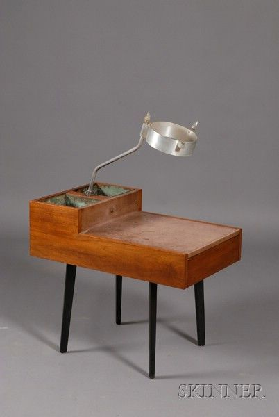 Lot 536 George Nelson Walnut And Metal Planter/Side Table, For Herman  Miller, Fitted With Two Copper Planters And Partial Light Fixture Over A Siu2026