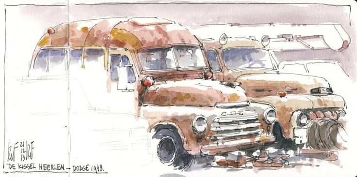 Two restoration objects as found on a parking lot in Heerlen (de Kissel): a Dodge 1948 schoolbus and a Ford 1952 F2 truck.