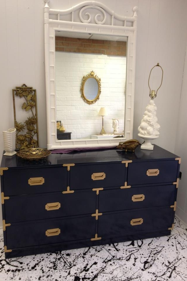 Navy Lacquered Campaign Style Dresser Campaign Furniture