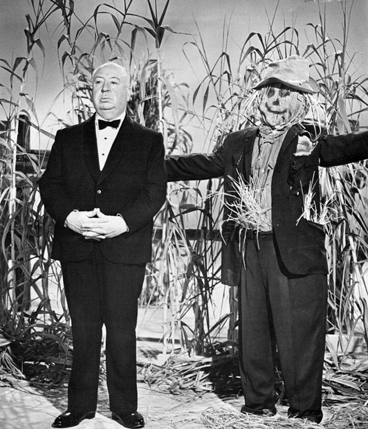 Alfred Hitchcock and friend