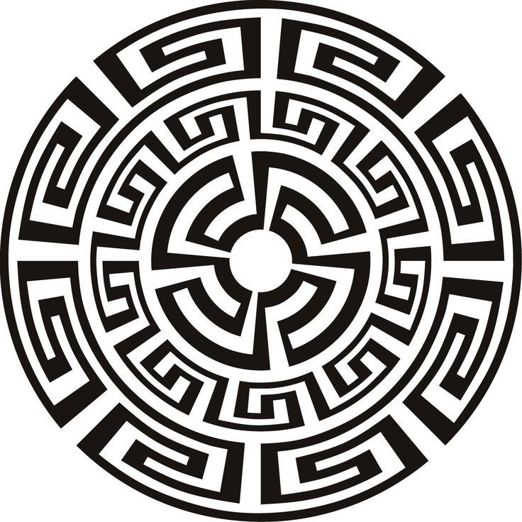 Sticker sun - round greek ornament - t-shirt, tattoo design - ancient •…
