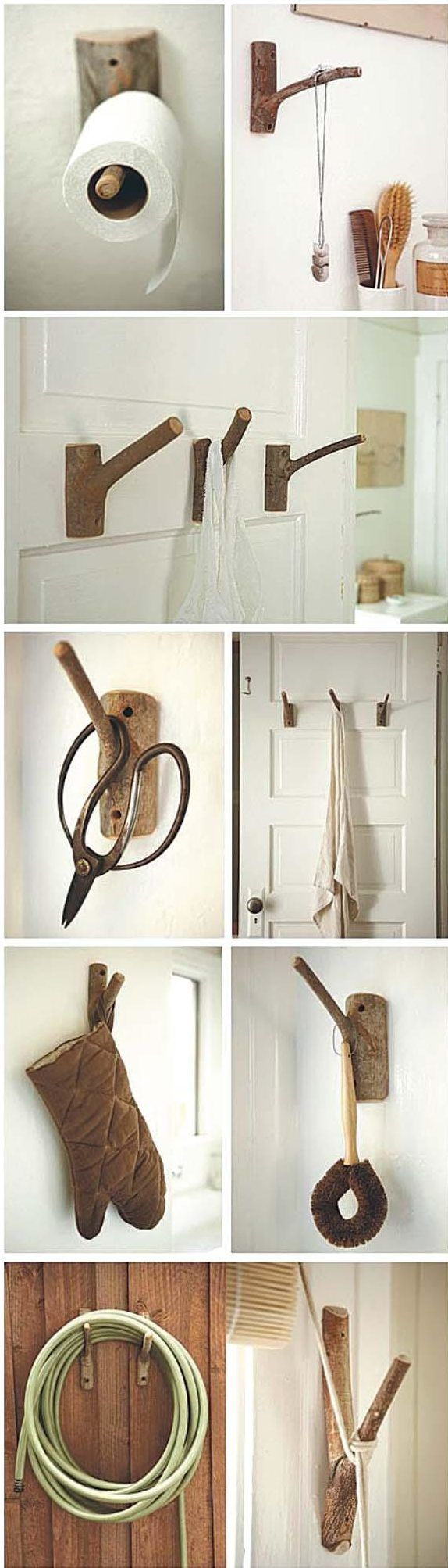 What do you think of these originals coat hooks made from branches? I love them and will keep this idea for my next hooks!