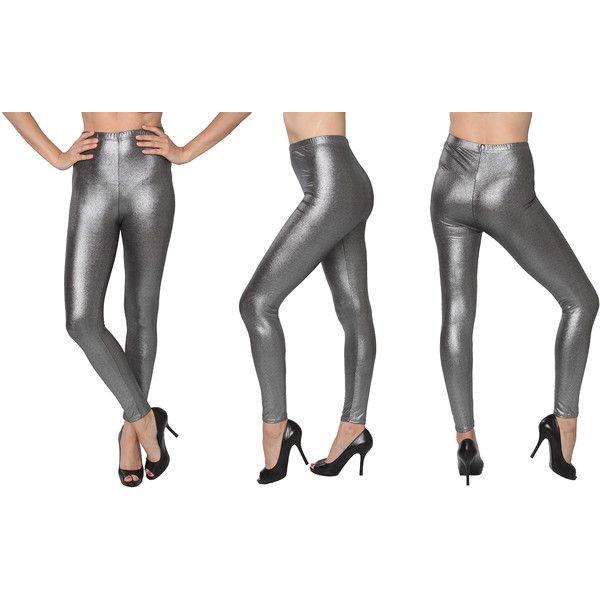 Women's Isadora Women's Metallic Leggings ($12) ❤ liked on Polyvore featuring pants, leggings, silver, white trousers, retro pants, metallic silver pants, white legging pants and metallic pants