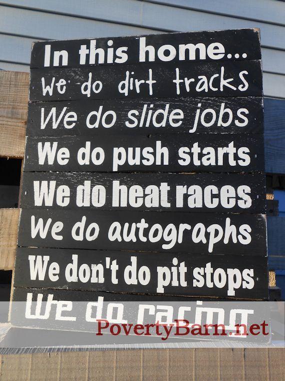 We Do Racing Reclaimed Pallet Wood Art Piece. $30.00, via Etsy.