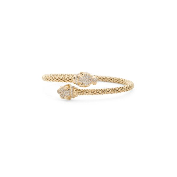 Made In Italy Gold Plate Sterling Silver Cz Panther Bracelet (375 DKK) ❤ liked on Polyvore featuring jewelry, bracelets, gold plated jewellery, gold plated bangles, sterling silver jewellery, sterling silver cz jewelry and gold plated jewelry