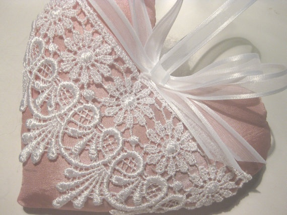 Pink Lavender Sachet Heart with Ornate Lace by RebeccasHearts, $13.50