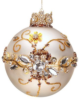 Mark Roberts Jeweled White with Clear Jewels Ball Ornament - Holiday Lane - Macy's