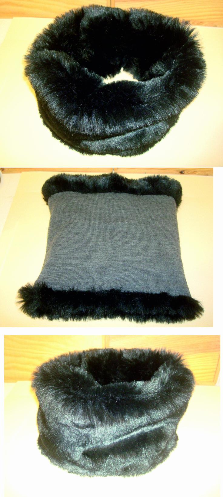 Cuello de tela de pelo negro y tela de algodón gris por dentro