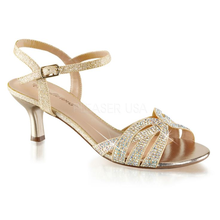 Gold Rhinestone Low Kitten Heels Junior Bridesmaid Vintage Bridal Shoes 6 7 8 9   eBay