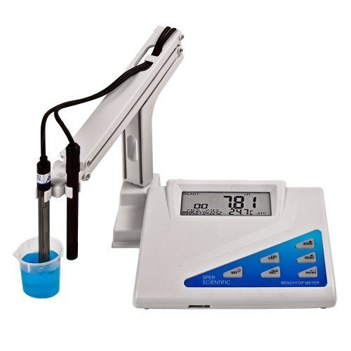Sper Scientific 860033 Benchtop Water Quality Meter, 217mm L × 168mm W × 58mm D by Sper Scientific. $394.00. Reads pH, ORP (oxygen reduction potential), mV, conductivity, TDS (total dissolved solids), salinity and temperature. Rugged housing with large LCD displaying the parameter being measured together with time, date and temperature (in °C or °F). Operates on AC voltage (no batteries). Comes ready to use with ATC conductivity and pH electrodes, multiple electr...