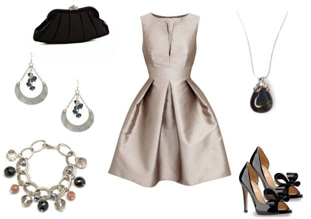 Wedding Guest Outfit - Vintaged Silver Pleated Dress with silver jewelry.