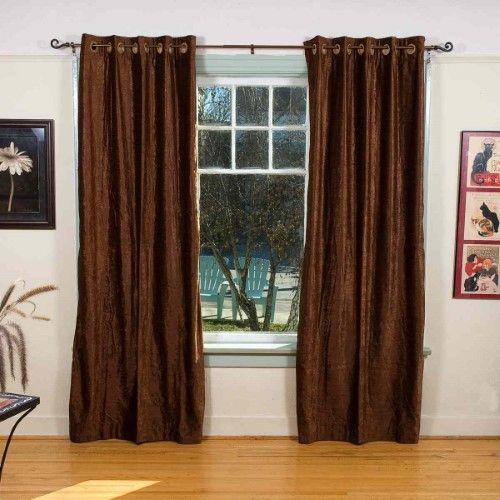 Lined-Brown Ring / Grommet Top Velvet Curtain / Drape - 80W x 63L - Piece, Brown