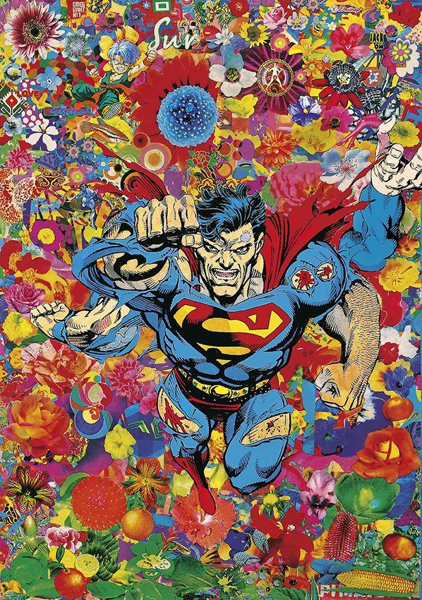 Felipe Cardena, Super Extra Power Flower, 2014, collage on canvas.