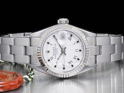 Rolex - Date Lady 69174 Cassa: acciaio - 26 mm Ghiera: oro bianco Vetro: zaffiro Colore quadrante: bianco Bracciale: oyster Chiusura: deployant Movimento: automatico