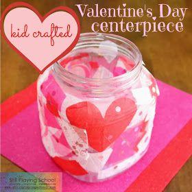 Kid crafted Valentine's Day centerpiece