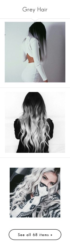 """""""Grey Hair"""" by danielle-kai ❤ liked on Polyvore featuring hair, beauty products, makeup, lip makeup, lipstick, people, hairstyles, accessories, hair accessories and blue hair accessories"""