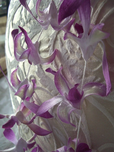 Purple Orchid Hawaiian Flower Lei Garlands...perfect for cupcake toppers.