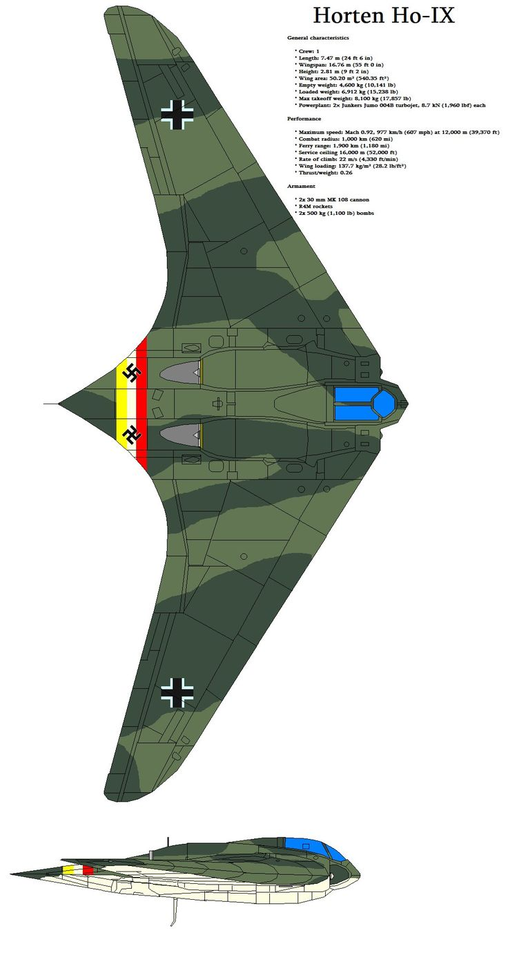 The Horten Ho-IX (often erroneously called Gotha Go 229 or Ho 229 due to the identity of the chosen manufacturer of the aircraft) was a late-World War II prototype flying wing fighter/bomber, desig...