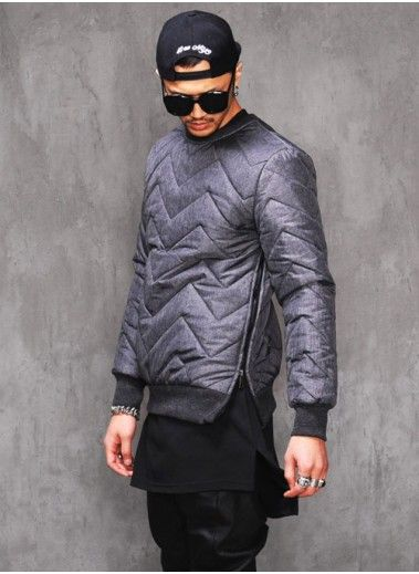 Mens Dark Quilted Side-Zip Jerseyshirt at Fabrixquare