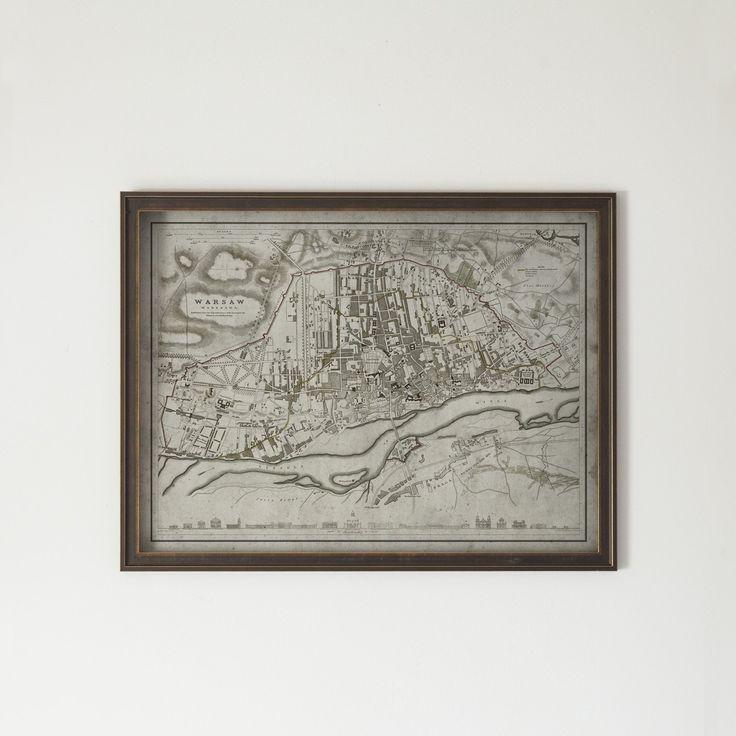 Warsaw Map: Hardwood Distressed Black and Gold Frame Circa 19th C.
