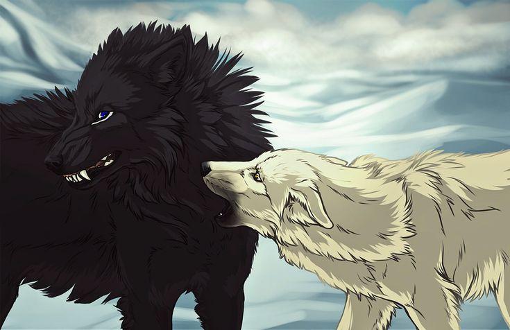 Картинки белый и черный волк аниме