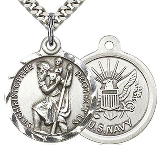 Heartland Men's Round Sterling Silver Saint Christopher United States Navy Medal