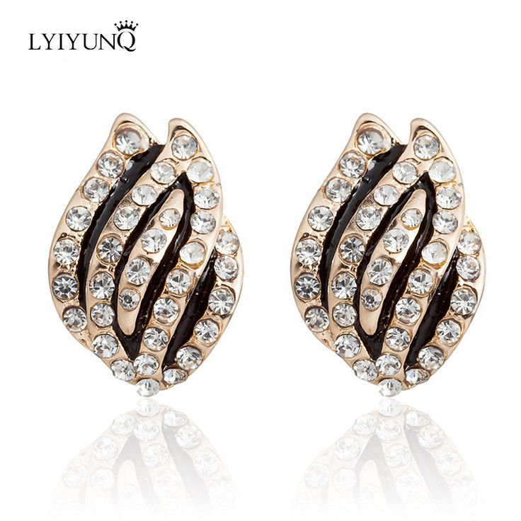 Europe And America Fashion Brand Crystal Gold-Color Jewelry Black Stud Earrings For Women