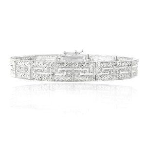 Silver Tone 1/2ct Diamonds Greek Key Bracelet SilverSpeck. $59.99
