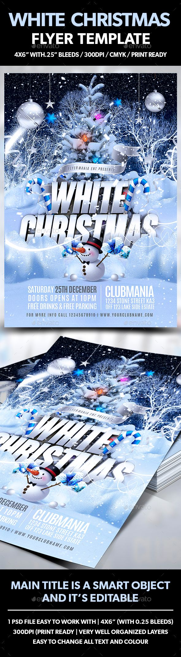 White Christmas Flyer Template PSD #design #xmas Download: http://graphicriver.net/item/white-christmas-flyer-template/13429561?ref=ksioks