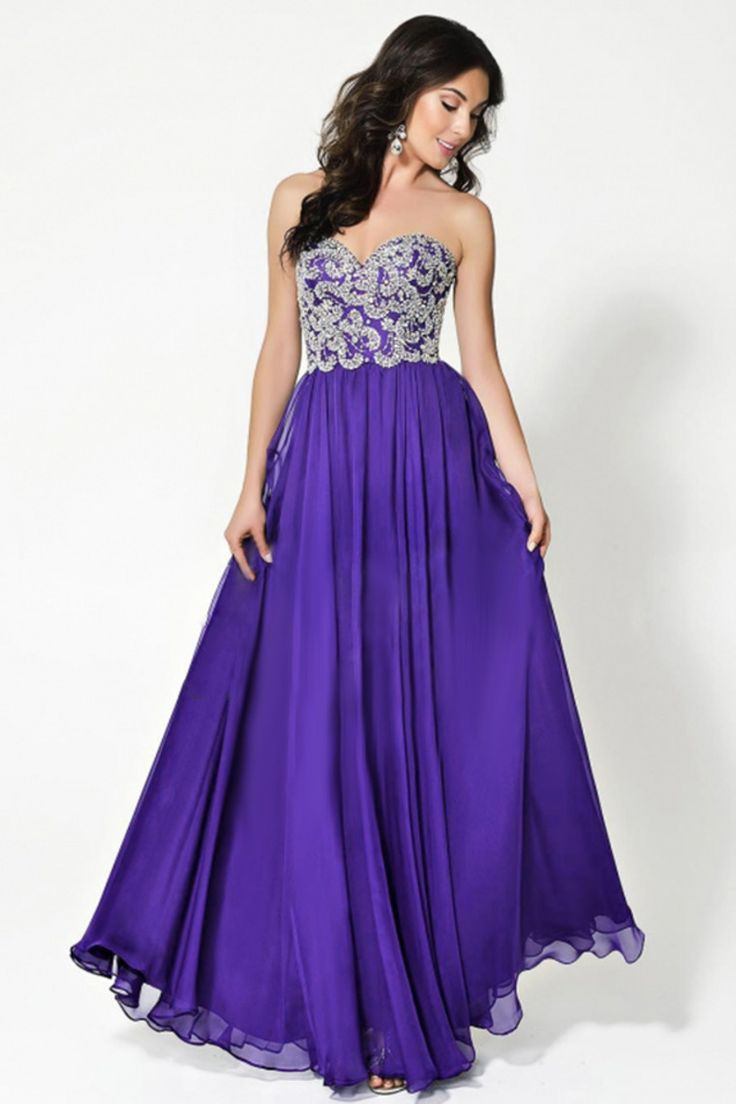 2015 Sweetheart Prom Dress A-Line Fully Beaded Bodice Floor-Length Chiffon