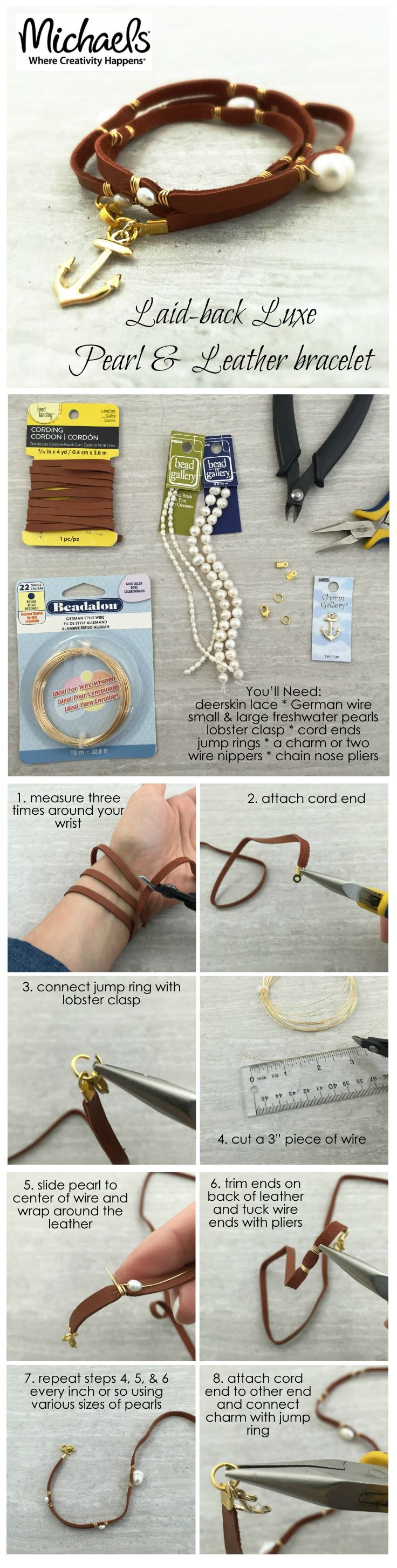 Make your own DIY Leather & Pearl Wrap bracelet with Bead Gallery beads available at @michaelsstores #madewithmichaels