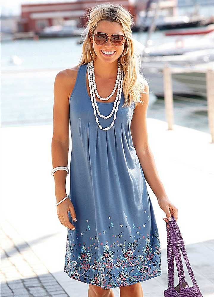 Beach Style Clothing | Home Beachtime Blue Petal Print Sun Dress