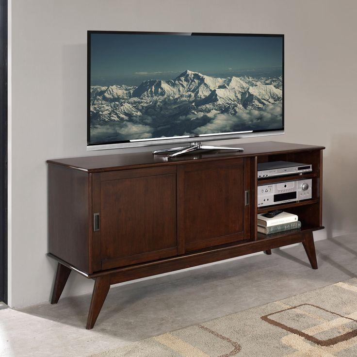 Simpli Home Draper TV Media Stand - Auburn Brown - 3AXCDRP-09