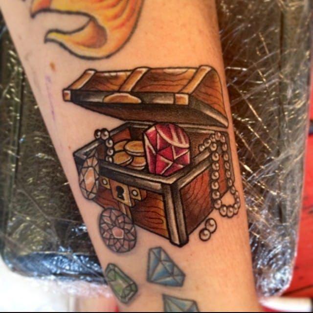 Treasure chest tattoo