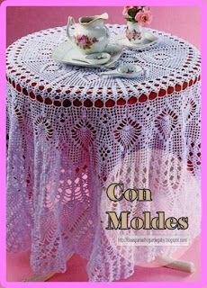 Ideas para el hogar: Mantel redondo tejido en ganchillo