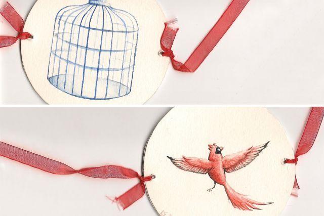 l'oiseau dans sa cage