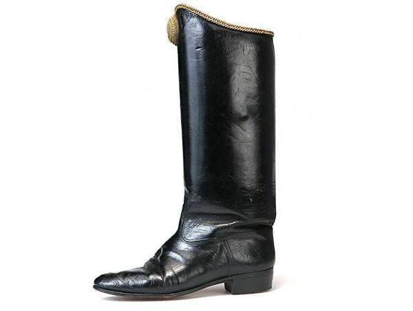 Hessian Boots Decorated With Golden Braid Top And Oval