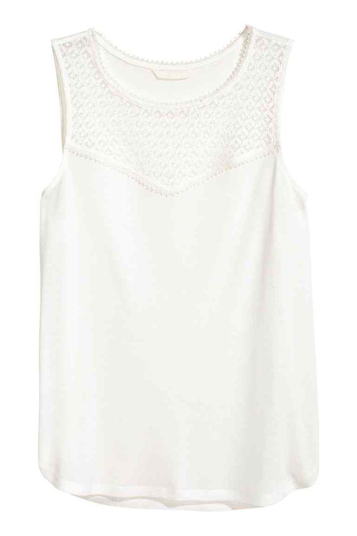 Mouwloze top met kant - Wit - DAMES | H&M NL