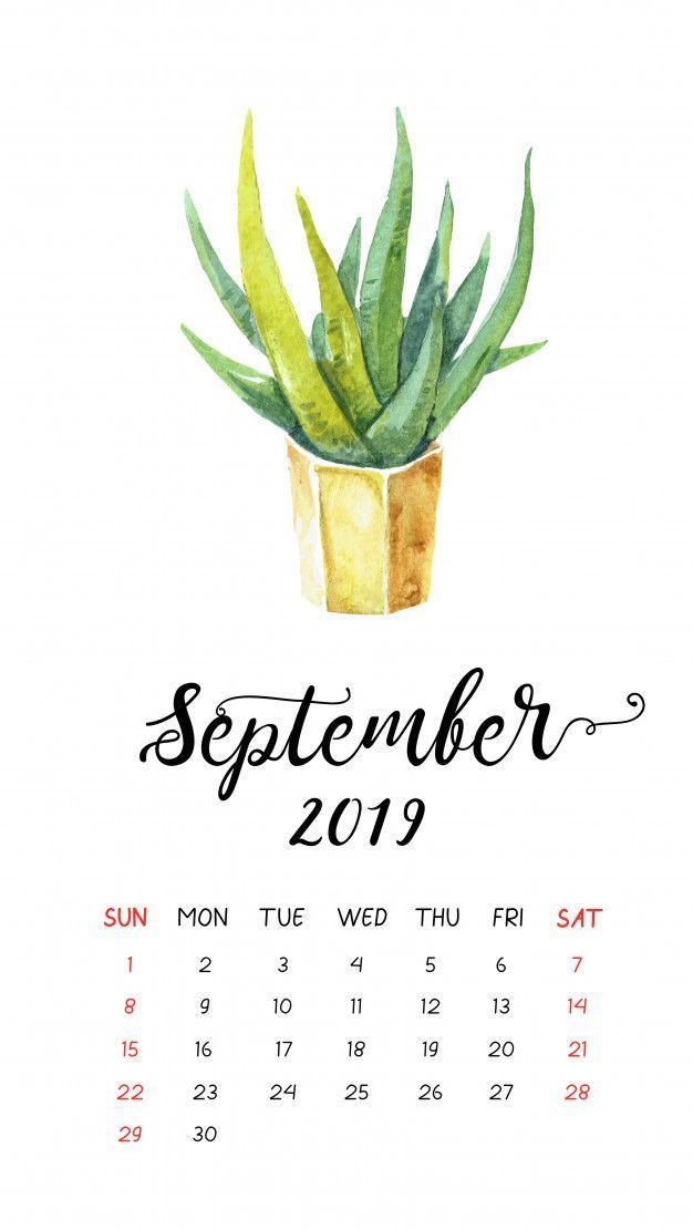 Watercolor Cactus Calendar For September 2019 Premium Vector