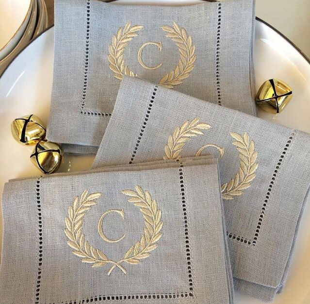 monogrammed napkins laurel wreath embroidered linen monogram color combo blue linen french - Linen Monogrammed Napkins