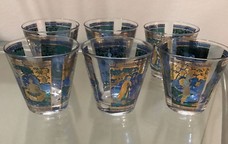 Vintage Mid Century Signed Culver 22k Gold Barware Cocktail Glass 6 Asian Motif